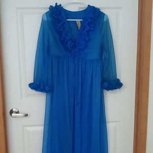 Vintage long robe gown  blue night gown set